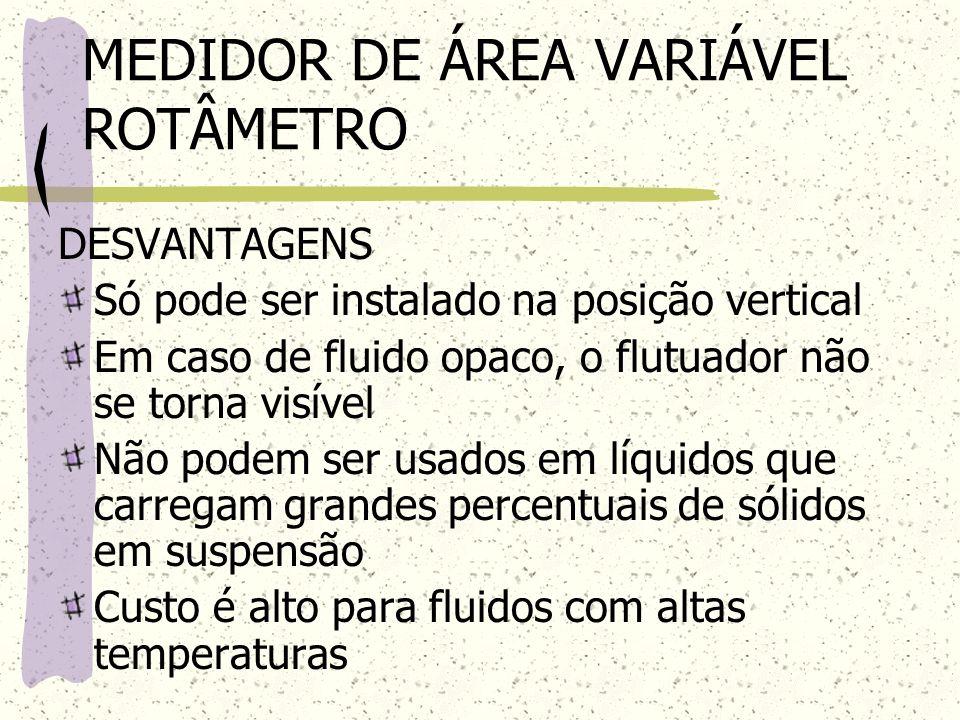 MEDIDOR DE ÁREA VARIÁVEL ROTÂMETRO DESVANTAGENS Só pode ser instalado na posição vertical Em caso de fluido opaco, o flutuador não se torna visível Nã
