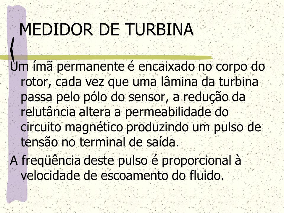 MEDIDOR DE TURBINA Um ímã permanente é encaixado no corpo do rotor, cada vez que uma lâmina da turbina passa pelo pólo do sensor, a redução da relutân