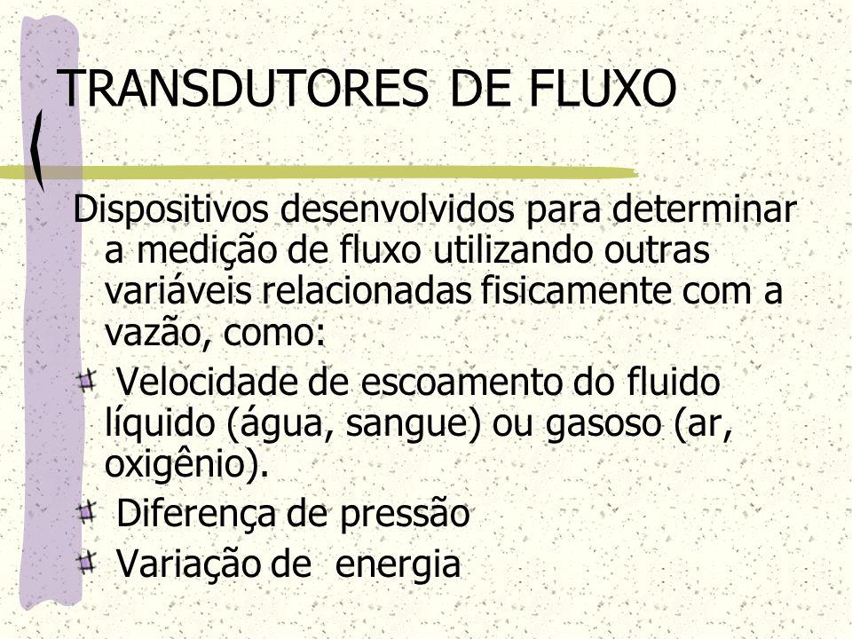 TRANSDUTORES DE FLUXO Dispositivos desenvolvidos para determinar a medição de fluxo utilizando outras variáveis relacionadas fisicamente com a vazão,