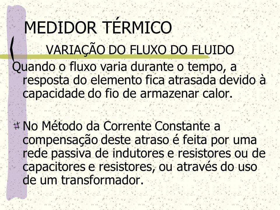 VARIAÇÃO DO FLUXO DO FLUIDO Quando o fluxo varia durante o tempo, a resposta do elemento fica atrasada devido à capacidade do fio de armazenar calor.
