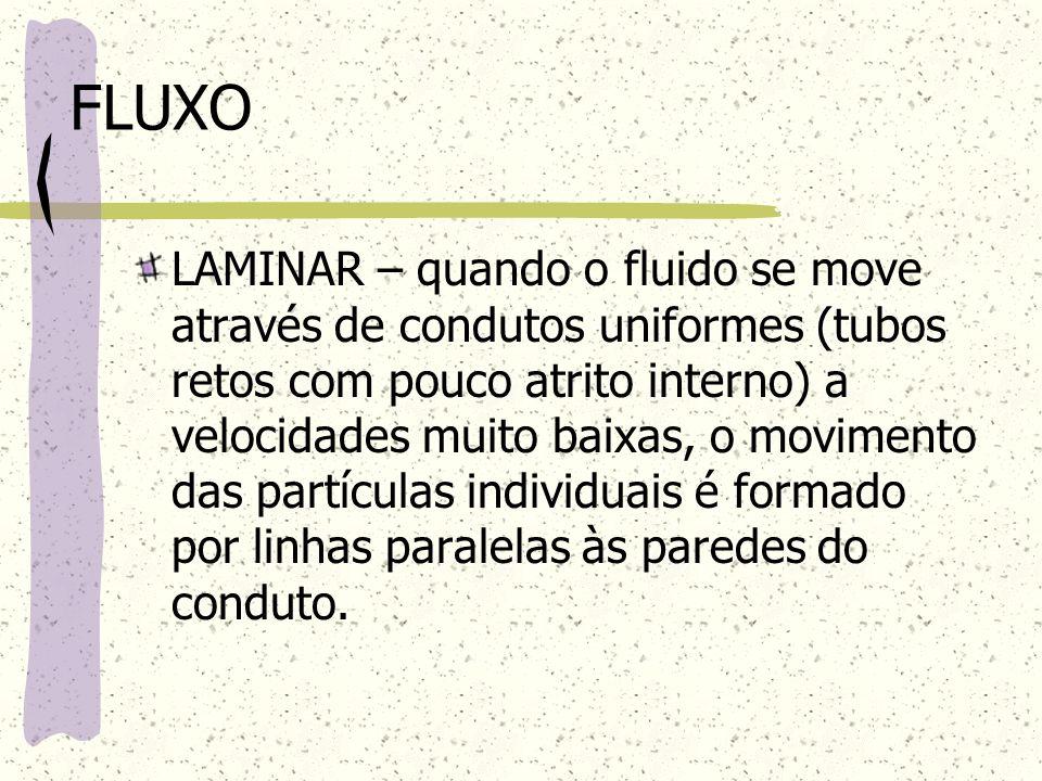 FLUXO LAMINAR – quando o fluido se move através de condutos uniformes (tubos retos com pouco atrito interno) a velocidades muito baixas, o movimento d