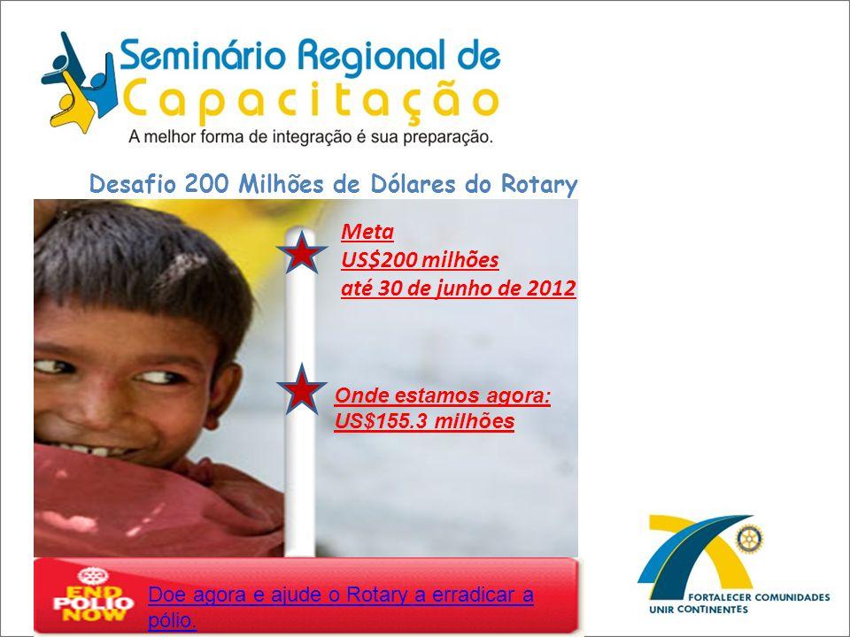 Desafio 200 Milhões de Dólares do Rotary Doe agora e ajude o Rotary a erradicar a pólio. Meta US$200 milhões até 30 de junho de 2012 Onde estamos agor