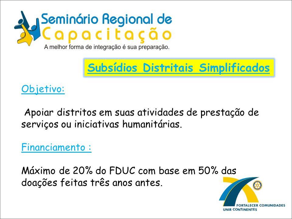 Subsídios Distritais Simplificados Objetivo: Apoiar distritos em suas atividades de prestação de serviços ou iniciativas humanitárias. Financiamento :