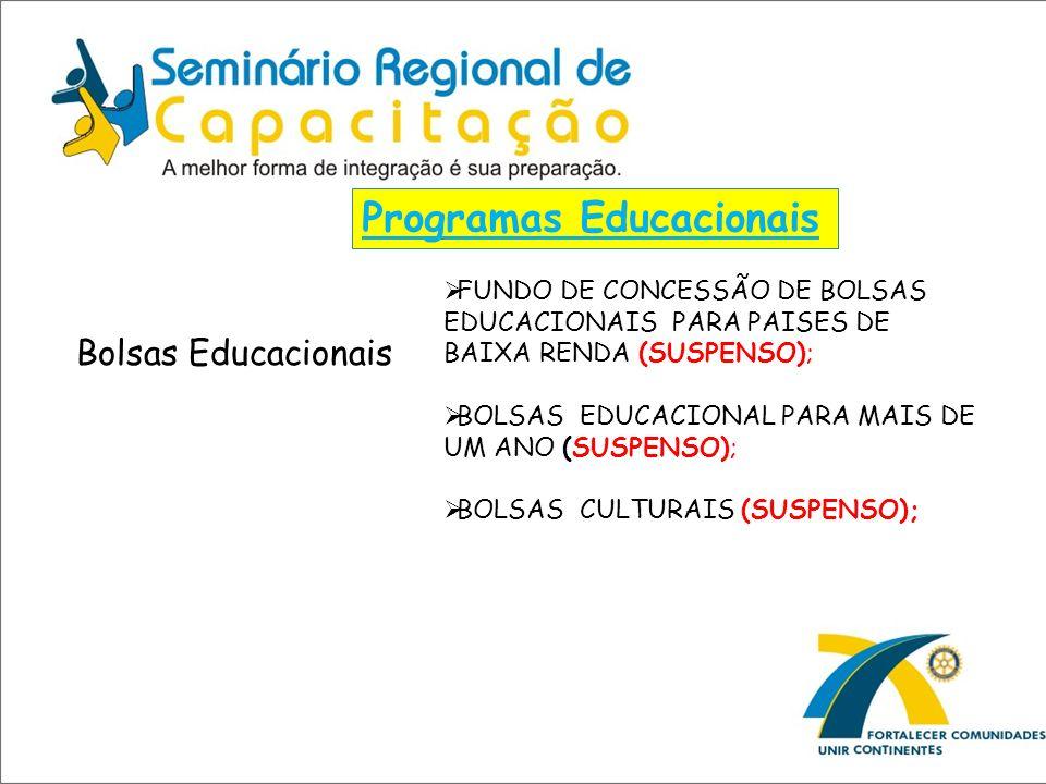 Programas Educacionais Bolsas Educacionais FUNDO DE CONCESSÃO DE BOLSAS EDUCACIONAIS PARA PAISES DE BAIXA RENDA (SUSPENSO); BOLSAS EDUCACIONAL PARA MA