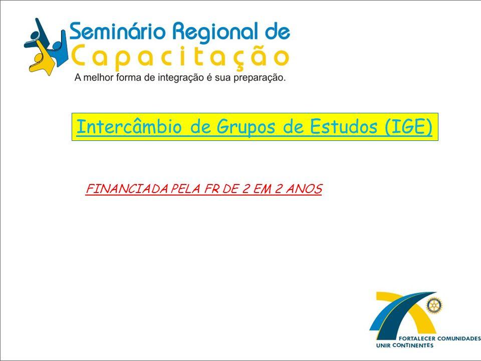 Intercâmbio de Grupos de Estudos (IGE) FINANCIADA PELA FR DE 2 EM 2 ANOS