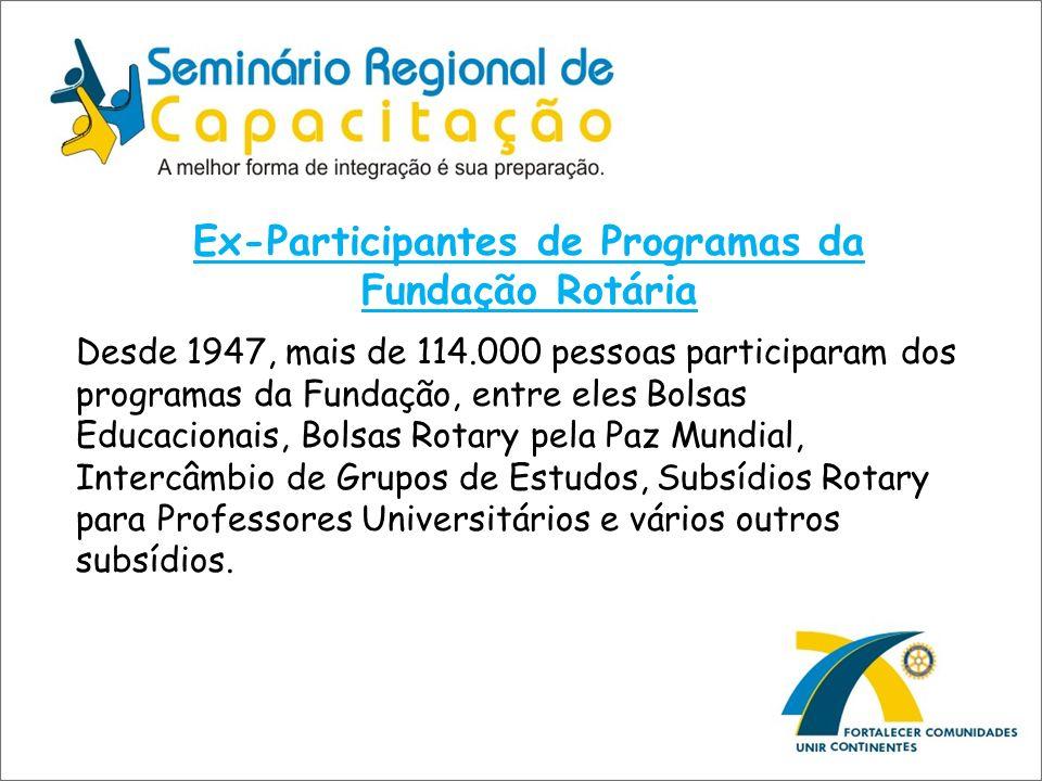 Ex-Participantes de Programas da Fundação Rotária Desde 1947, mais de 114.000 pessoas participaram dos programas da Fundação, entre eles Bolsas Educac