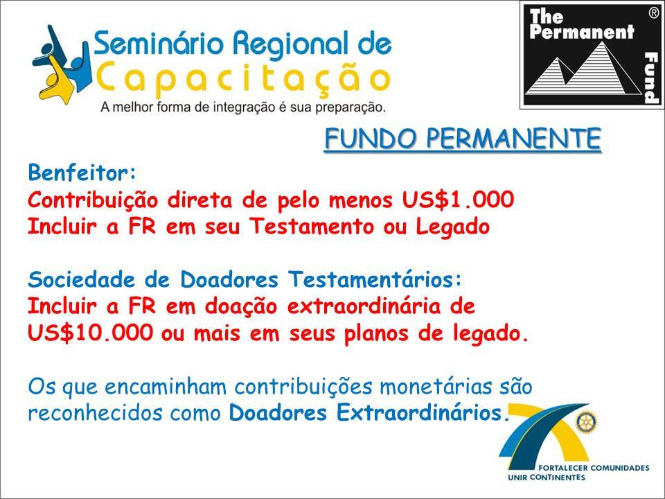 Benfeitor: Contribuição direta de pelo menos US$1.000 Incluir a FR em seu Testamento ou Legado Sociedade de Doadores Testamentários: Incluir a FR em d