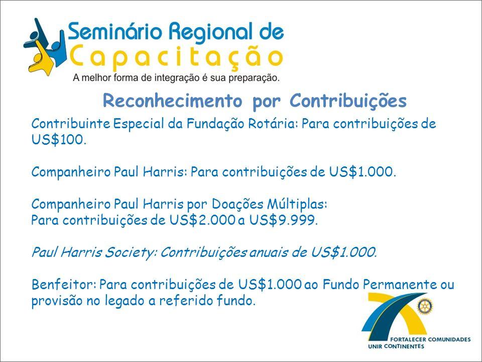 Reconhecimento por Contribuições Contribuinte Especial da Fundação Rotária: Para contribuições de US$100. Companheiro Paul Harris: Para contribuições