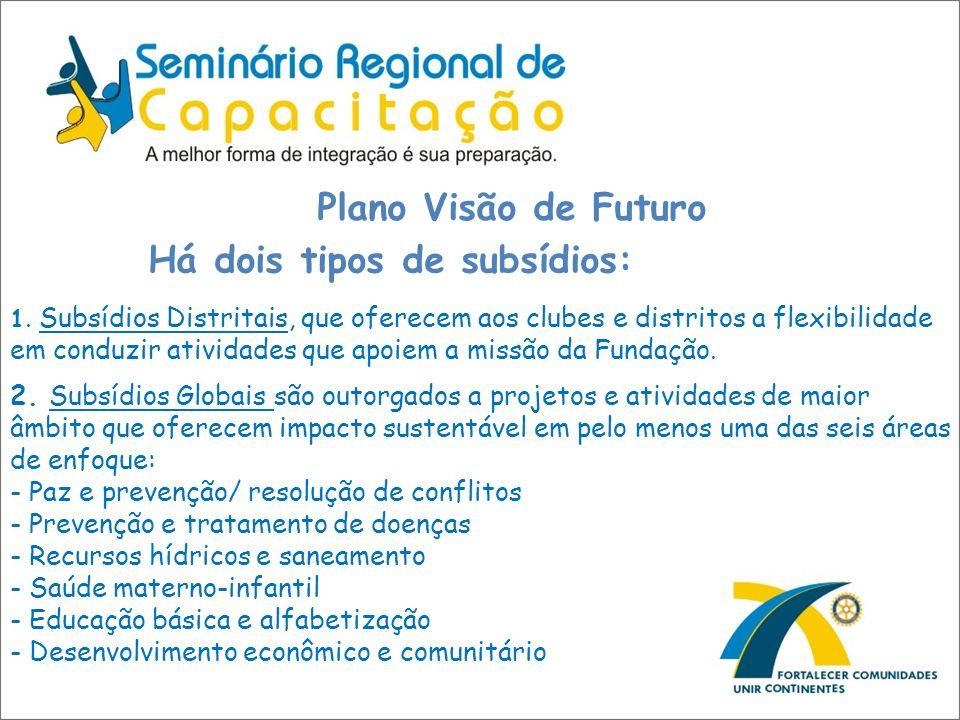 Plano Visão de Futuro Há dois tipos de subsídios: 1. Subsídios Distritais, que oferecem aos clubes e distritos a flexibilidade em conduzir atividades