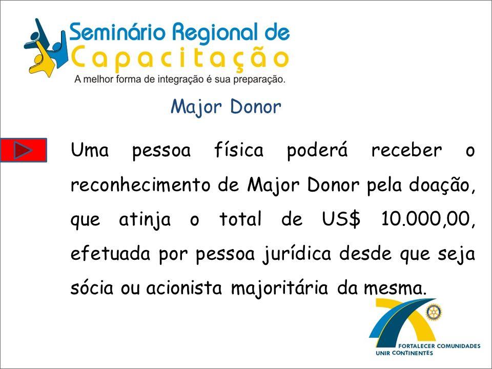 Uma pessoa física poderá receber o reconhecimento de Major Donor pela doação, que atinja o total de US$ 10.000,00, efetuada por pessoa jurídica desde