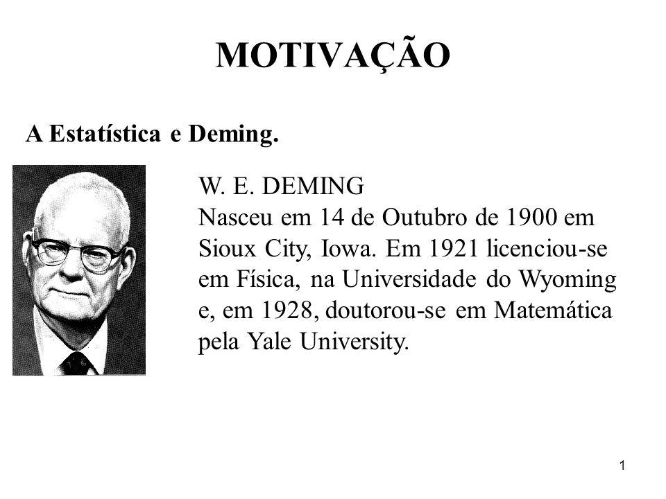 1 MOTIVAÇÃO A Estatística e Deming. W. E. DEMING Nasceu em 14 de Outubro de 1900 em Sioux City, Iowa. Em 1921 licenciou-se em Física, na Universidade