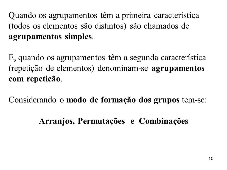 10 Quando os agrupamentos têm a primeira característica (todos os elementos são distintos) são chamados de agrupamentos simples. E, quando os agrupame