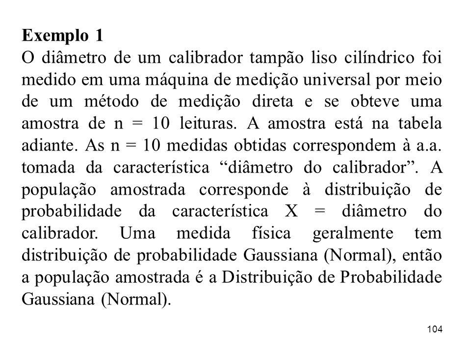 104 Exemplo 1 O diâmetro de um calibrador tampão liso cilíndrico foi medido em uma máquina de medição universal por meio de um método de medição diret
