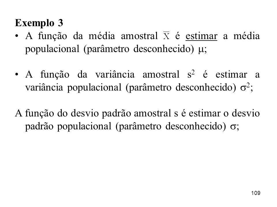 109 Exemplo 3 A função da média amostral é estimar a média populacional (parâmetro desconhecido) ; A função da variância amostral s 2 é estimar a vari