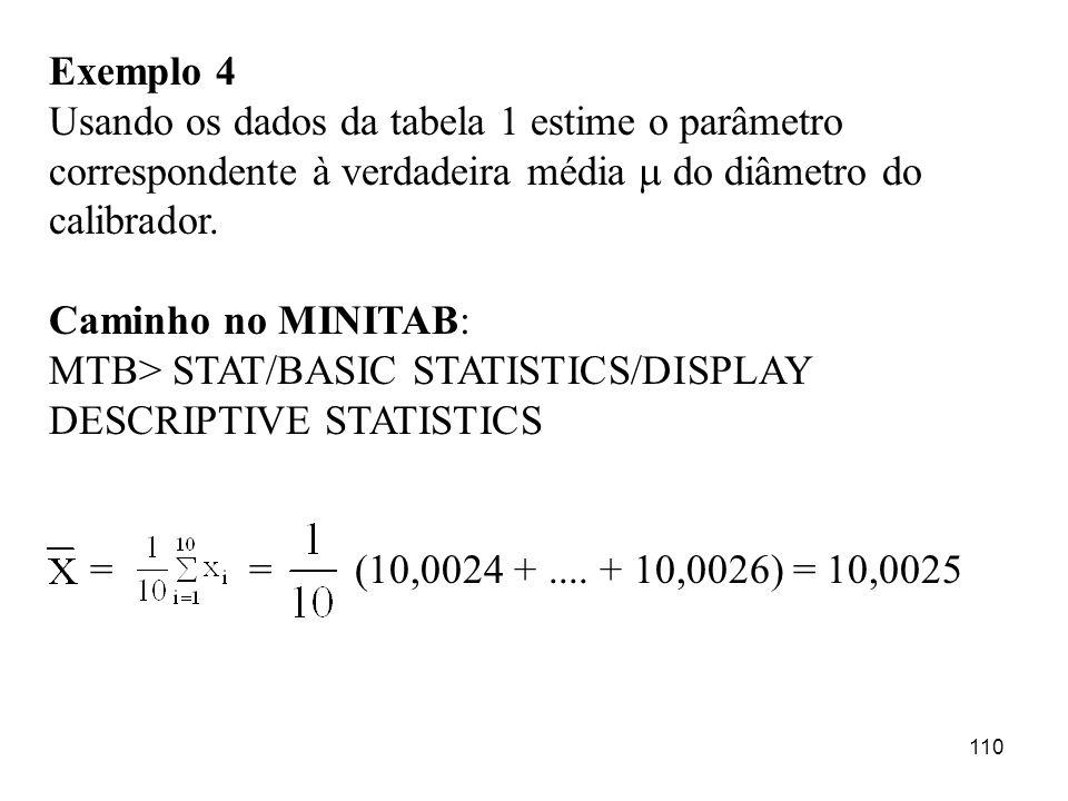 110 Exemplo 4 Usando os dados da tabela 1 estime o parâmetro correspondente à verdadeira média do diâmetro do calibrador. Caminho no MINITAB: MTB> STA