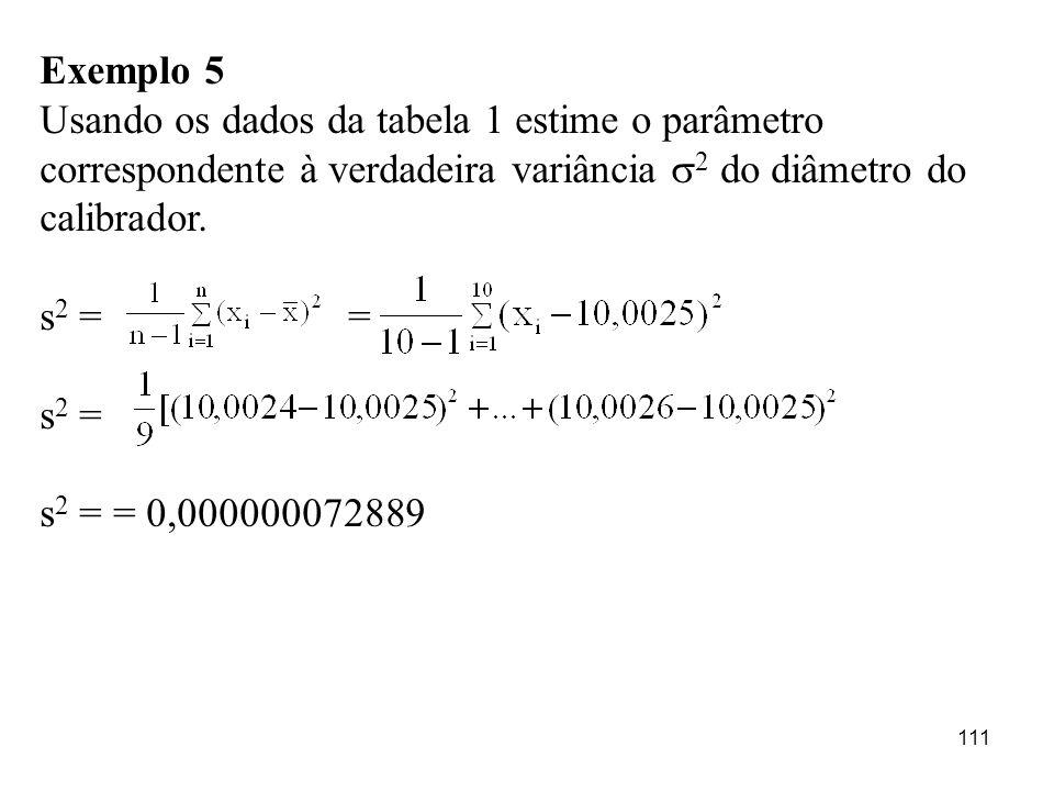 111 Exemplo 5 Usando os dados da tabela 1 estime o parâmetro correspondente à verdadeira variância 2 do diâmetro do calibrador. s 2 = = s 2 = s 2 = =