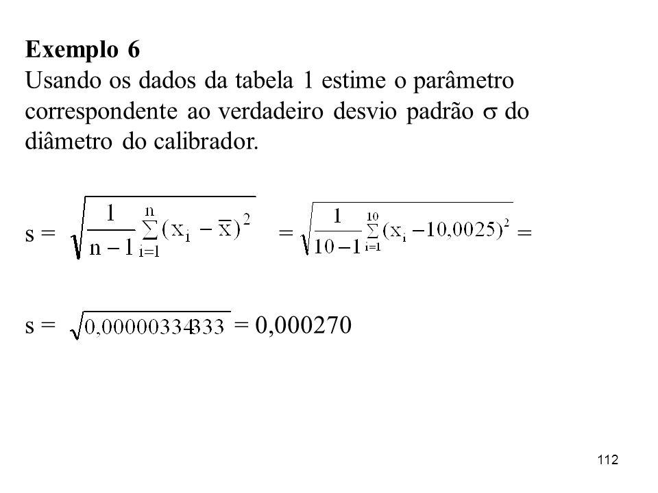 112 Exemplo 6 Usando os dados da tabela 1 estime o parâmetro correspondente ao verdadeiro desvio padrão do diâmetro do calibrador. s = = = s = = 0,000
