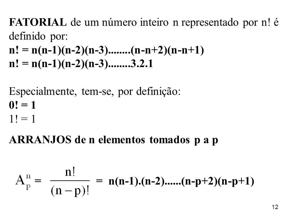 12 FATORIAL de um número inteiro n representado por n! é definido por: n! = n(n-1)(n-2)(n-3)........(n-n+2)(n-n+1) n! = n(n-1)(n-2)(n-3)........3.2.1