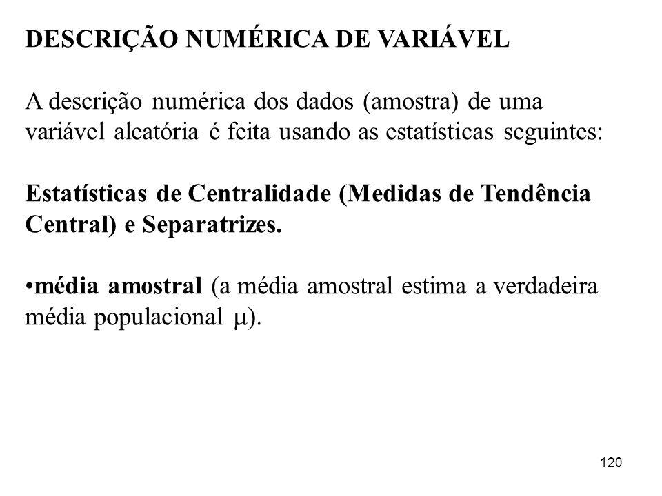 120 DESCRIÇÃO NUMÉRICA DE VARIÁVEL A descrição numérica dos dados (amostra) de uma variável aleatória é feita usando as estatísticas seguintes: Estatí