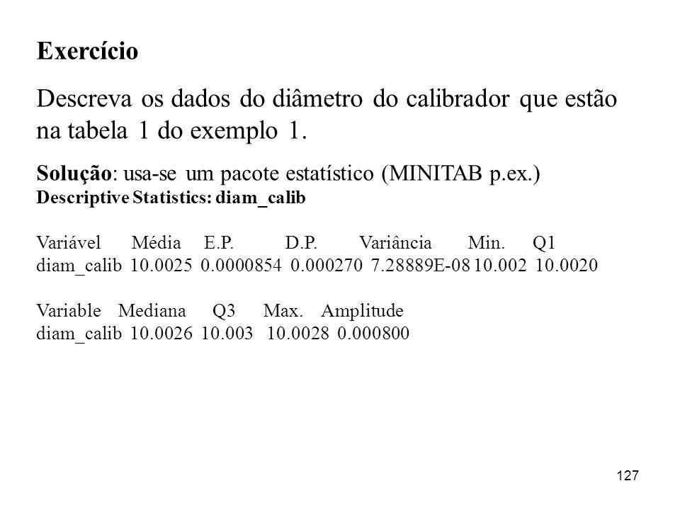 127 Exercício Descreva os dados do diâmetro do calibrador que estão na tabela 1 do exemplo 1. Solução: usa-se um pacote estatístico (MINITAB p.ex.) De