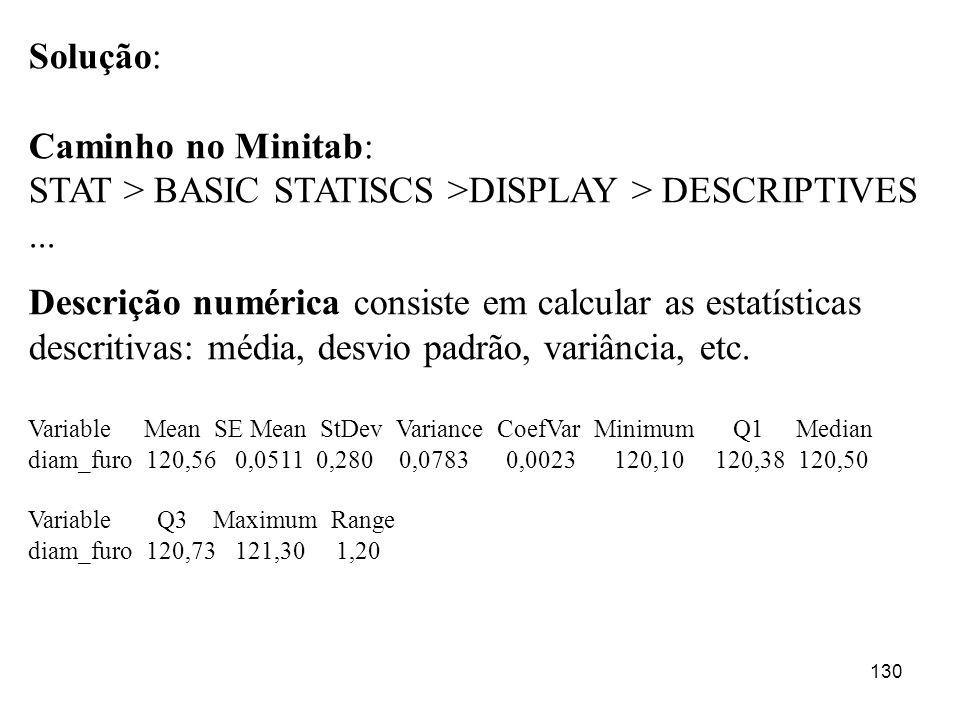 130 Solução: Caminho no Minitab: STAT > BASIC STATISCS >DISPLAY > DESCRIPTIVES... Descrição numérica consiste em calcular as estatísticas descritivas: