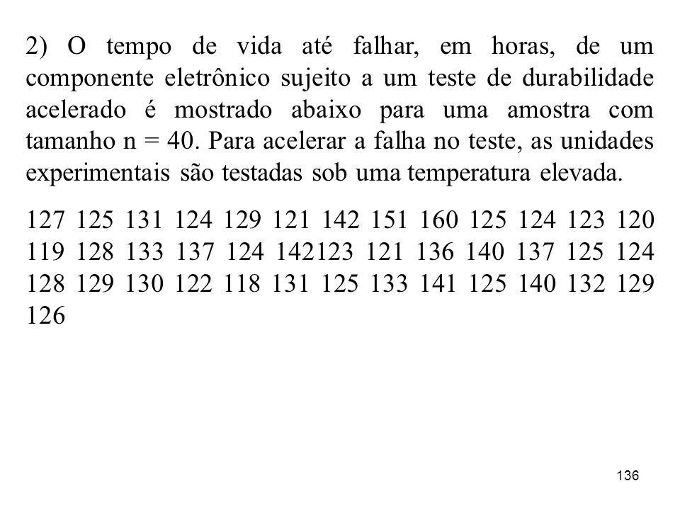 136 2) O tempo de vida até falhar, em horas, de um componente eletrônico sujeito a um teste de durabilidade acelerado é mostrado abaixo para uma amost