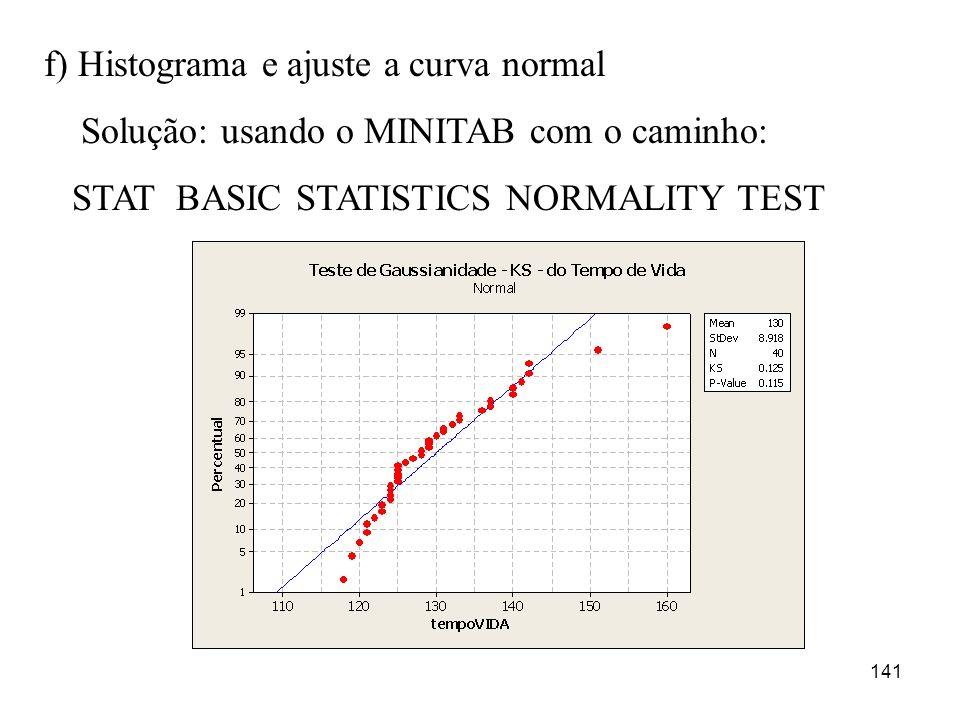 141 f) Histograma e ajuste a curva normal Solução: usando o MINITAB com o caminho: STAT BASIC STATISTICS NORMALITY TEST