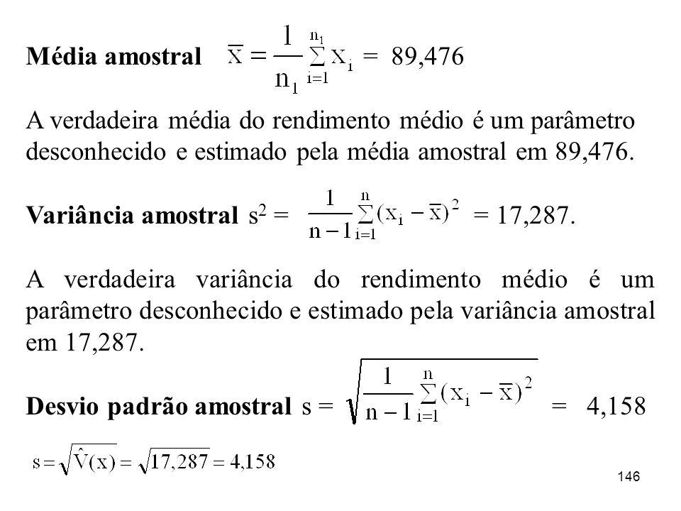 146 Média amostral = 89,476 A verdadeira média do rendimento médio é um parâmetro desconhecido e estimado pela média amostral em 89,476. Variância amo