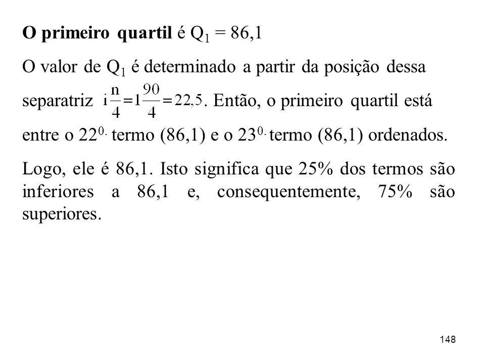 148 O primeiro quartil é Q 1 = 86,1 O valor de Q 1 é determinado a partir da posição dessa separatriz. Então, o primeiro quartil está entre o 22 0. te