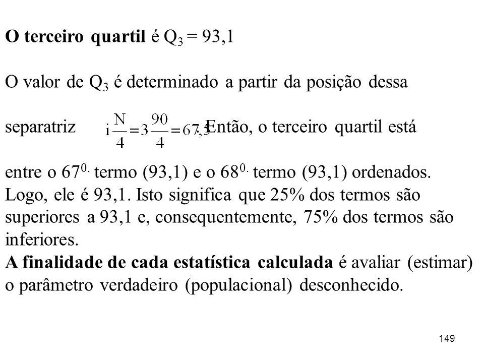 149 O terceiro quartil é Q 3 = 93,1 O valor de Q 3 é determinado a partir da posição dessa separatriz. Então, o terceiro quartil está entre o 67 0. te