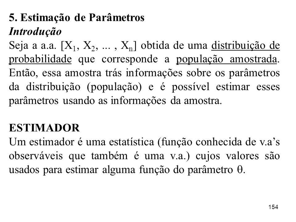 154 5. Estimação de Parâmetros Introdução Seja a a.a. [X 1, X 2,..., X n ] obtida de uma distribuição de probabilidade que corresponde a população amo