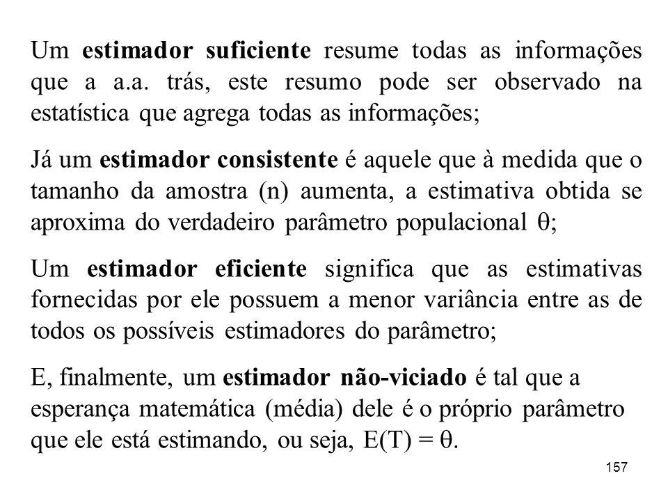 157 Um estimador suficiente resume todas as informações que a a.a. trás, este resumo pode ser observado na estatística que agrega todas as informações