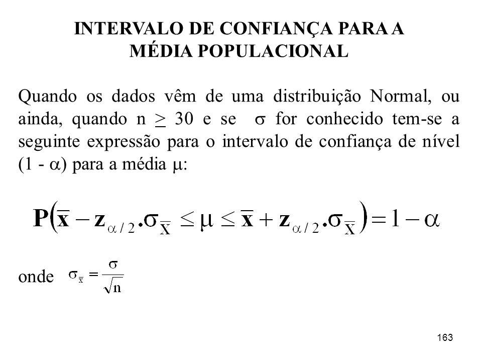 163 INTERVALO DE CONFIANÇA PARA A MÉDIA POPULACIONAL Quando os dados vêm de uma distribuição Normal, ou ainda, quando n > 30 e se for conhecido tem-se
