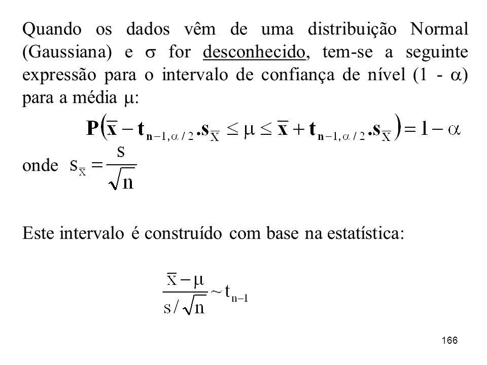 166 Quando os dados vêm de uma distribuição Normal (Gaussiana) e for desconhecido, tem-se a seguinte expressão para o intervalo de confiança de nível