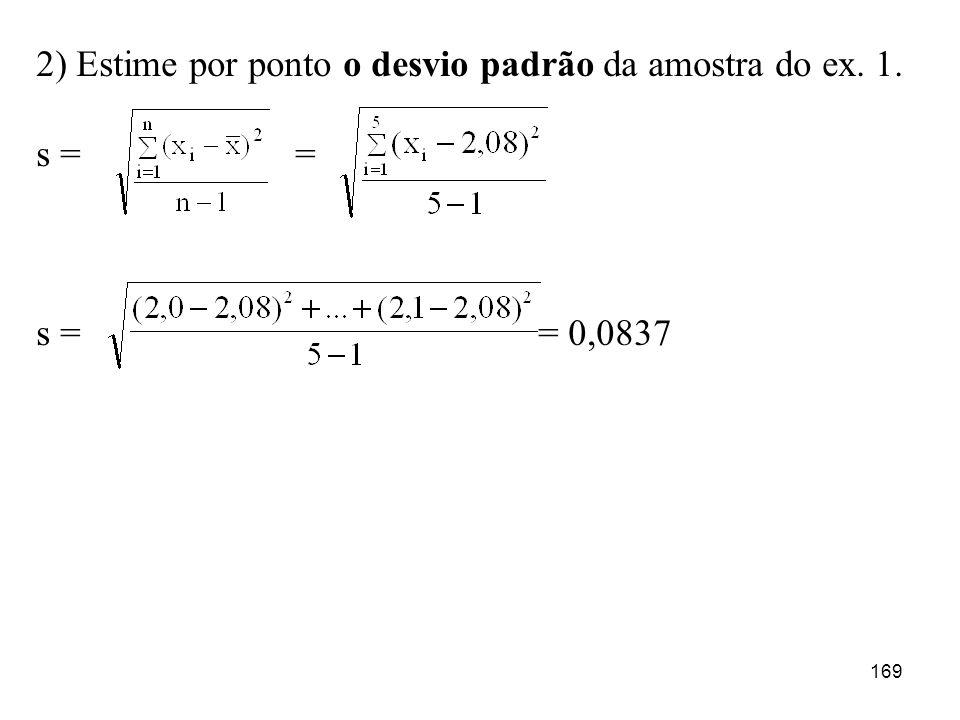 169 2) Estime por ponto o desvio padrão da amostra do ex. 1. s = = s = = 0,0837