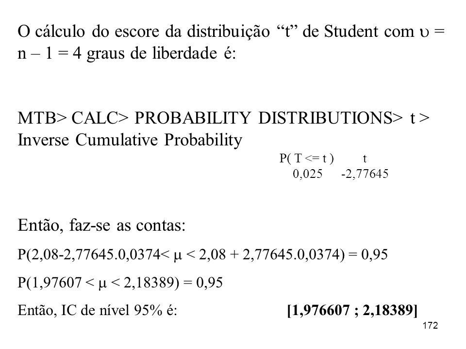 172 O cálculo do escore da distribuição t de Student com = n – 1 = 4 graus de liberdade é: MTB> CALC> PROBABILITY DISTRIBUTIONS> t > Inverse Cumulativ
