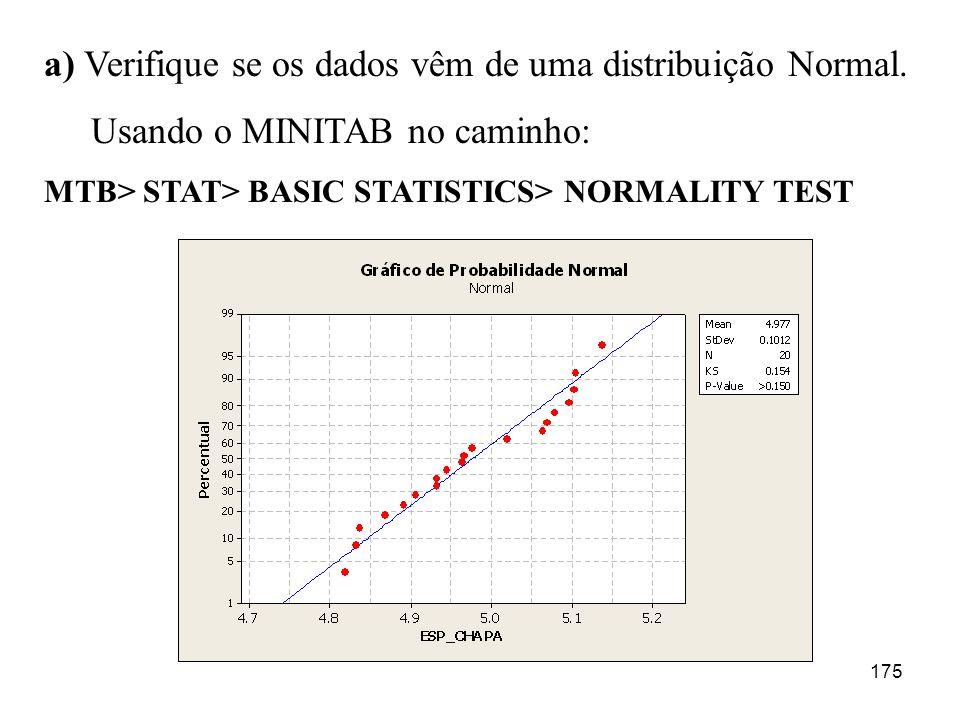 175 a) Verifique se os dados vêm de uma distribuição Normal. Usando o MINITAB no caminho: MTB> STAT> BASIC STATISTICS> NORMALITY TEST
