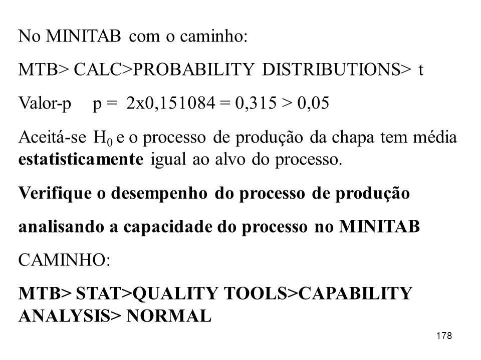 178 No MINITAB com o caminho: MTB> CALC>PROBABILITY DISTRIBUTIONS> t Valor-p p = 2x0,151084 = 0,315 > 0,05 Aceitá-se H 0 e o processo de produção da c
