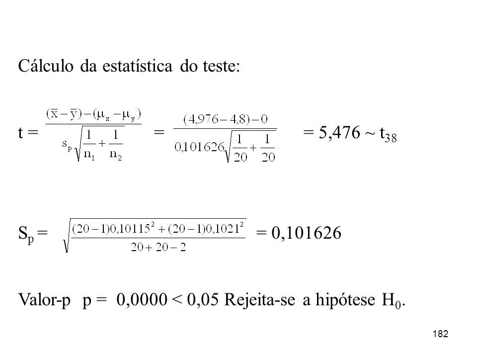 182 Cálculo da estatística do teste: t = = = 5,476 ~ t 38 S p == 0,101626 Valor-p p = 0,0000 < 0,05 Rejeita-se a hipótese H 0.