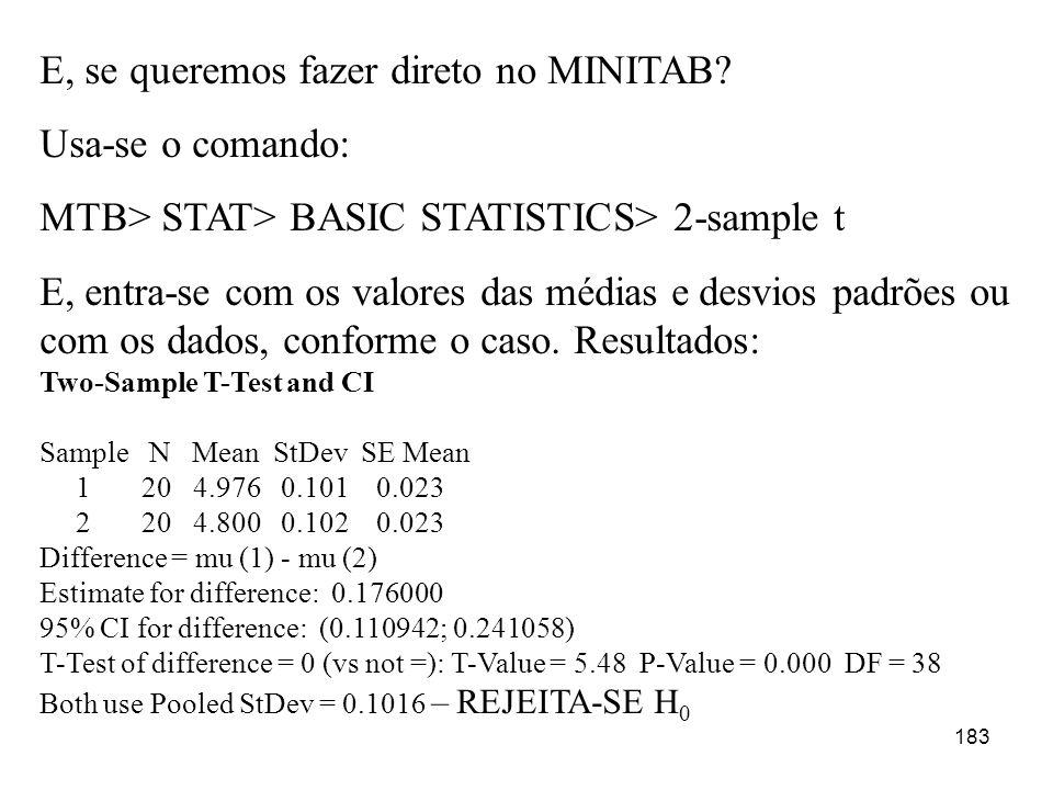 183 E, se queremos fazer direto no MINITAB? Usa-se o comando: MTB> STAT> BASIC STATISTICS> 2-sample t E, entra-se com os valores das médias e desvios