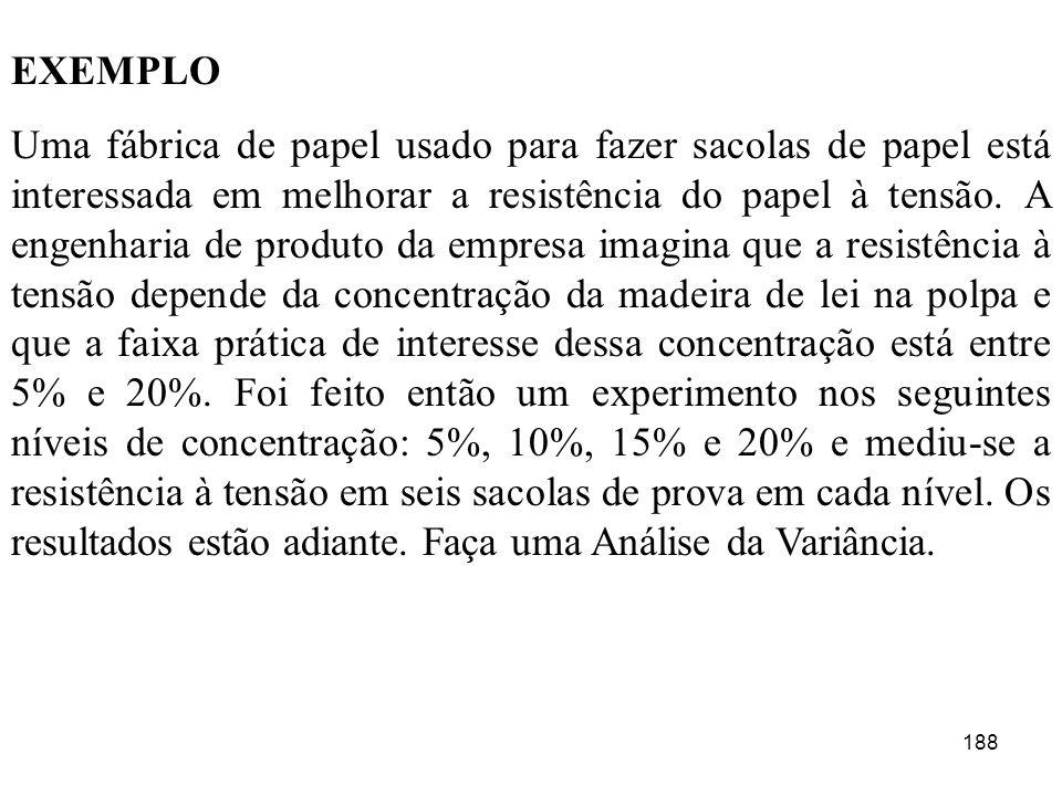 188 EXEMPLO Uma fábrica de papel usado para fazer sacolas de papel está interessada em melhorar a resistência do papel à tensão. A engenharia de produ