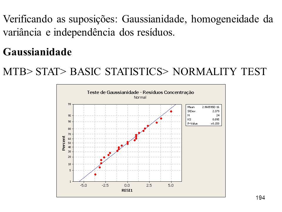 194 Verificando as suposições: Gaussianidade, homogeneidade da variância e independência dos resíduos. Gaussianidade MTB> STAT> BASIC STATISTICS> NORM