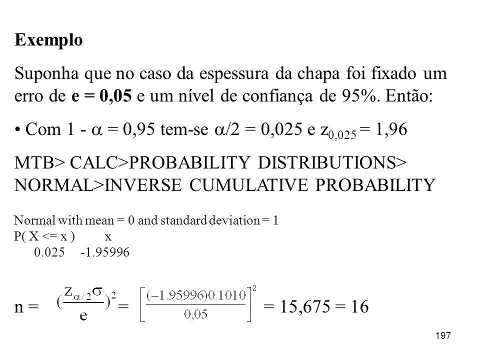 197 Exemplo Suponha que no caso da espessura da chapa foi fixado um erro de e = 0,05 e um nível de confiança de 95%. Então: Com 1 - = 0,95 tem-se /2 =