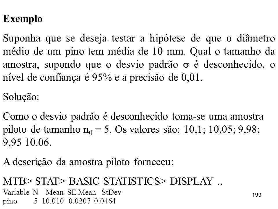 199 Exemplo Suponha que se deseja testar a hipótese de que o diâmetro médio de um pino tem média de 10 mm. Qual o tamanho da amostra, supondo que o de