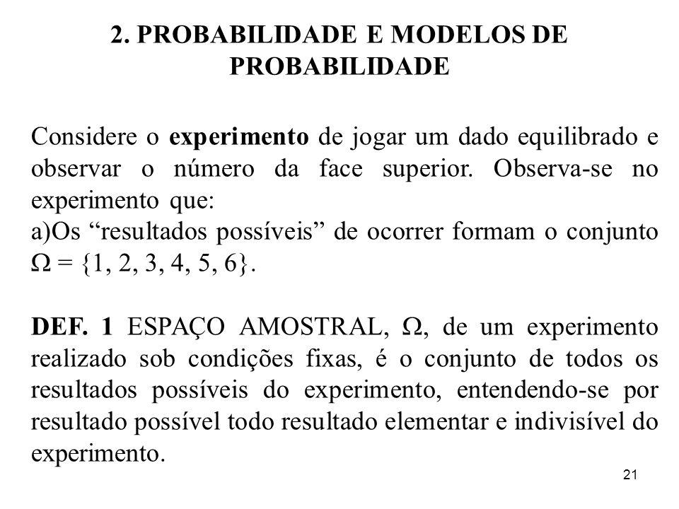 21 2. PROBABILIDADE E MODELOS DE PROBABILIDADE Considere o experimento de jogar um dado equilibrado e observar o número da face superior. Observa-se n