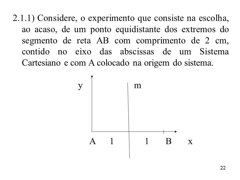 22 2.1.1) Considere, o experimento que consiste na escolha, ao acaso, de um ponto equidistante dos extremos do segmento de reta AB com comprimento de