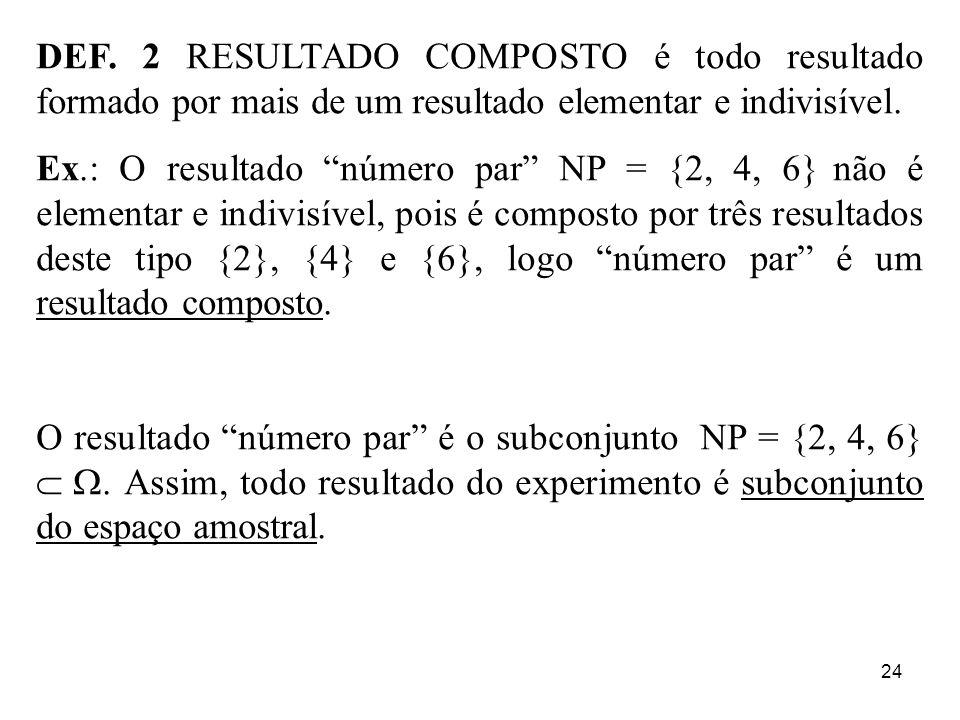 24 DEF. 2 RESULTADO COMPOSTO é todo resultado formado por mais de um resultado elementar e indivisível. Ex.: O resultado número par NP = {2, 4, 6} não