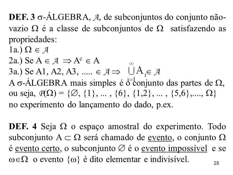 25 DEF. 3 -ÁLGEBRA, A, de subconjuntos do conjunto não- vazio é a classe de subconjuntos de satisfazendo as propriedades: 1a.) A 2a.) Se A A A c A 3a.