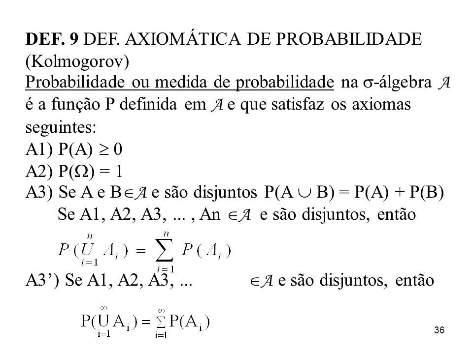 36 DEF. 9 DEF. AXIOMÁTICA DE PROBABILIDADE (Kolmogorov) Probabilidade ou medida de probabilidade na -álgebra A é a função P definida em A e que satisf
