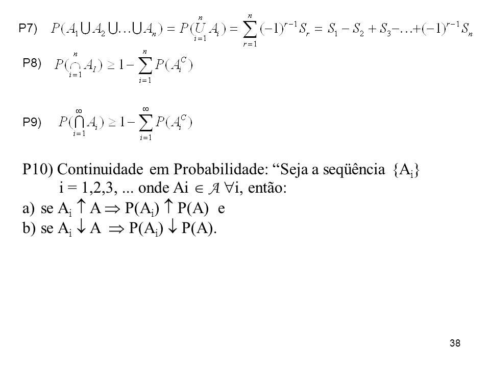 38 P7) P8) P9) P10) Continuidade em Probabilidade: Seja a seqüência {A i } i = 1,2,3,... onde Ai A i, então: a)se A i A P(A i ) P(A) e b)se A i A P(A